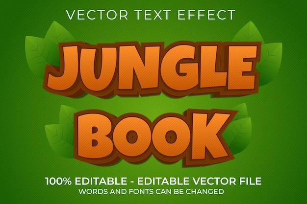 Efeito de texto 3d editável do livro da selva