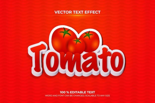 Efeito de texto 3d editável do tomate