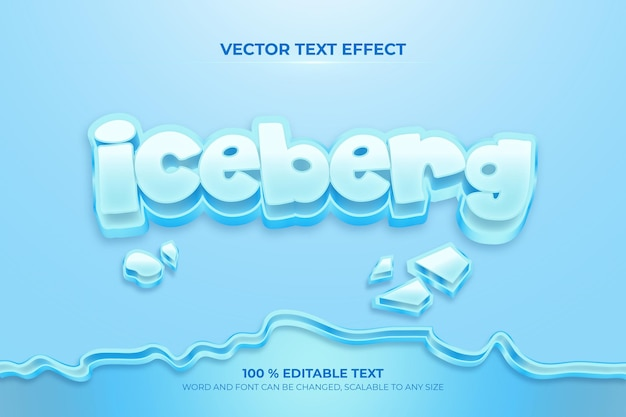 Efeito de texto 3d editável iceberk com estilo de fundo de crack de gelo
