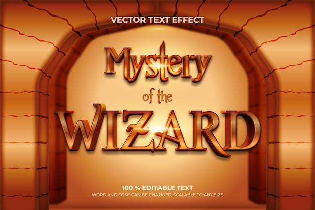 Efeito de texto 3d editável mystery of the wizard com estilo de fundo de pedra