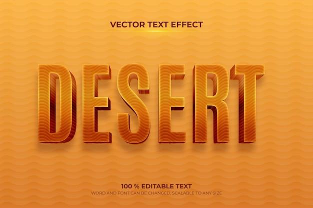Efeito de texto 3d editável no deserto com estilo de fundo de areia