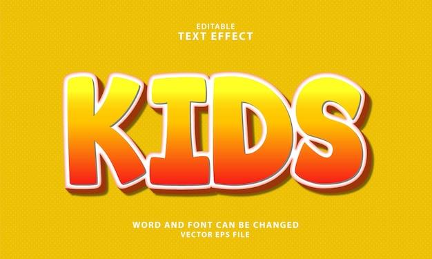 Efeito de texto 3d editável para crianças
