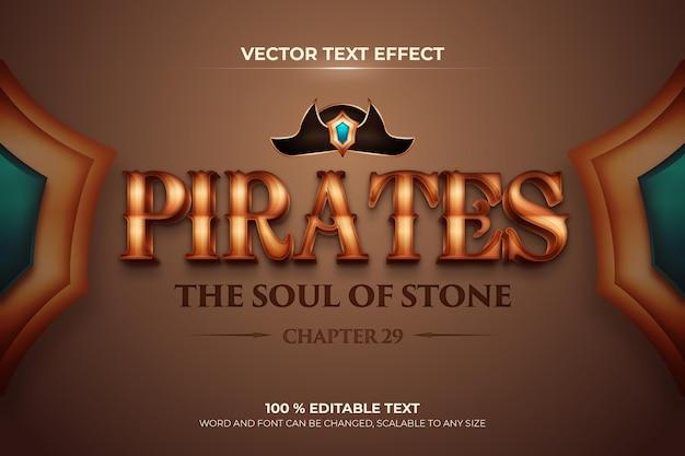 Efeito de texto 3d editável pirates com estilo de fundo marrom