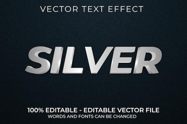 Efeito de texto 3d editável prateado