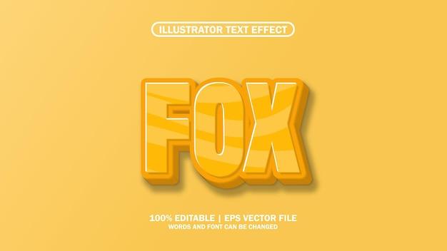 Efeito de texto 3d editável raposa premium
