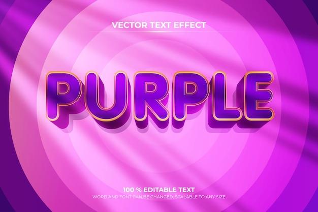 Efeito de texto 3d editável roxo com fundo de cor de onda circular