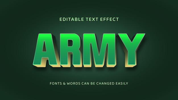 Efeito de texto 3d editável verde e dourado do exército-01