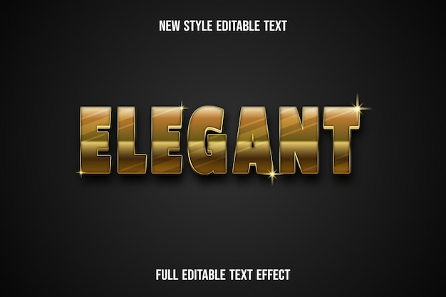 Efeito de texto 3d elegante cor ouro e preto