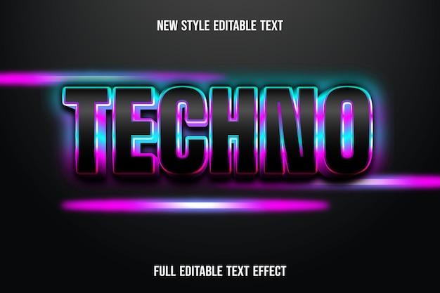 Efeito de texto 3d em cor techno preto, azul e rosa