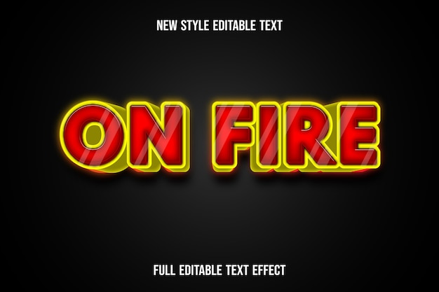 Efeito de texto 3d em gradiente vermelho e amarelo de cor de fogo