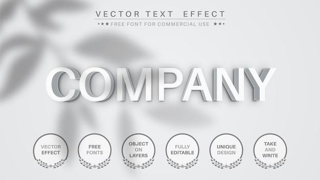 Efeito de texto 3d em papel branco da empresa, estilo de fonte