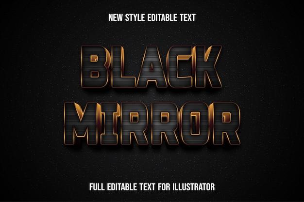 Efeito de texto 3d espelho preto cor gradiente preto e marrom