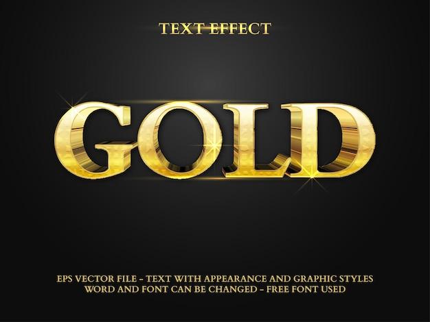 Efeito de texto 3d estilo ouro realista efeito de texto editável
