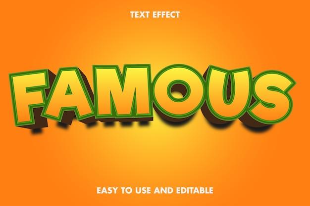 Efeito de texto 3d - famoso. fácil de usar e editável.