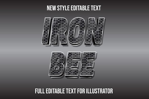 Efeito de texto 3d ferro abelha cor prata e gradiente preto