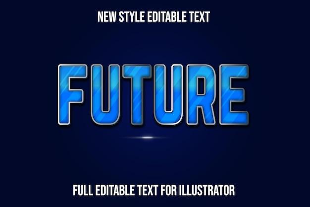 Efeito de texto 3d futuro cor gradiente de azul e prata