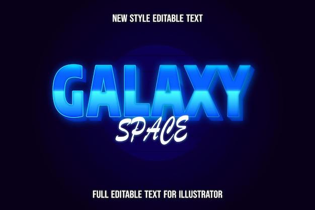 Efeito de texto 3d galáxia espaço cor azul e gradiente branco