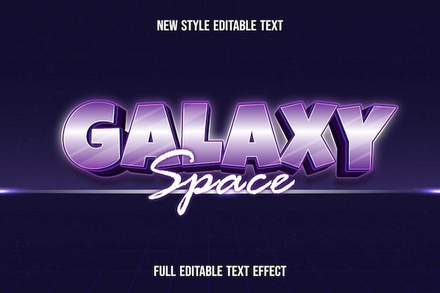 Efeito de texto 3d galáxia espaço cor branco e gradiente roxo