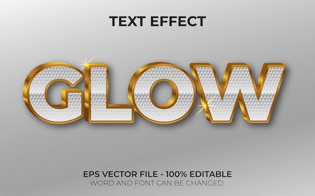 Efeito de texto 3d glow estilo ouro efeito de texto editável