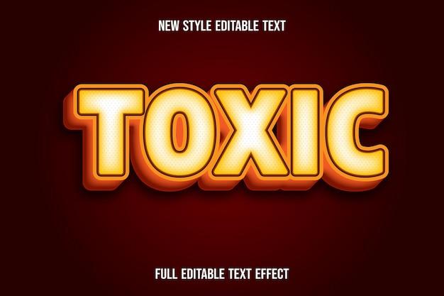 Efeito de texto 3d gradiente de cor tóxica amarelo e laranja