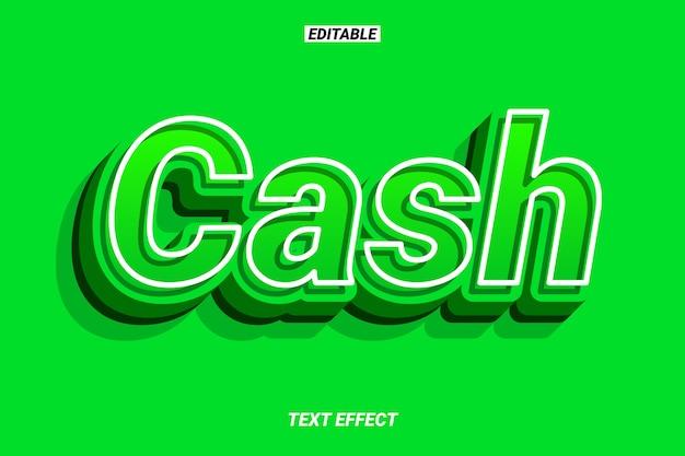 Efeito de texto 3d green cash