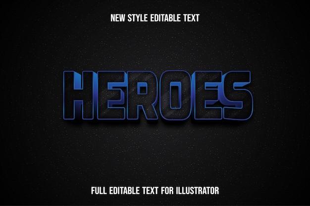 Efeito de texto 3d heróis cor gradiente preto e branco