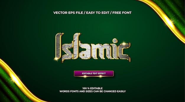 Efeito de texto 3d islâmico de luxo