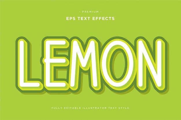Efeito de texto 3d limão