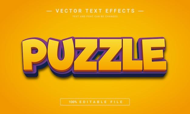 Efeito de texto 3d lúdico de quebra-cabeça quest