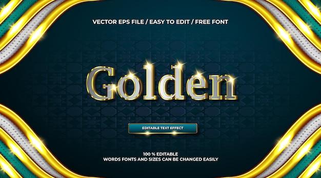 Efeito de texto 3d luxuoso em cromo dourado