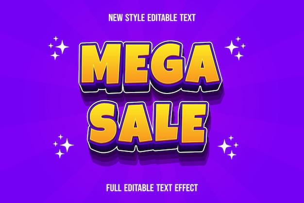 Efeito de texto 3d mega venda cor gradiente amarelo e roxo