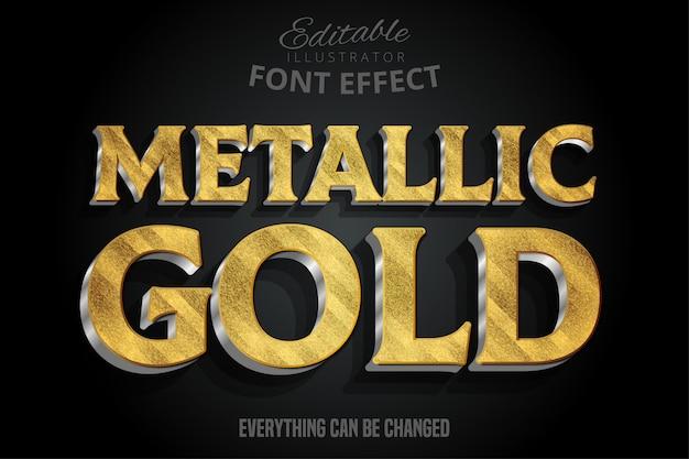 Efeito de texto 3d metálico ouro com extrusão de prata