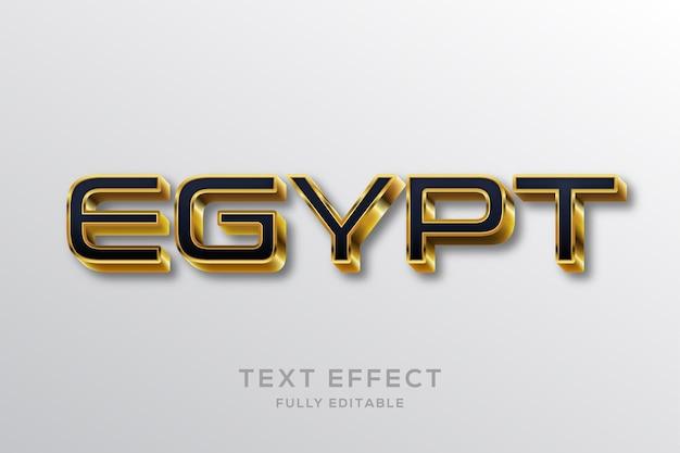 Efeito de texto 3d moderno em preto e dourado do egito