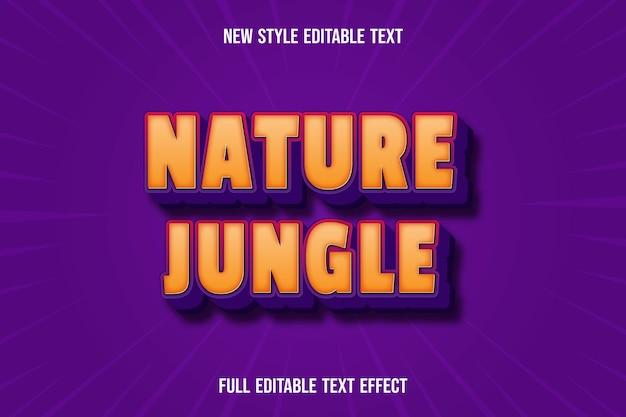 Efeito de texto 3d natureza selva cor laranja e roxo
