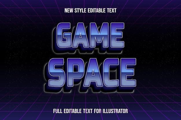Efeito de texto 3d no espaço de jogo cor azul e gradiente preto