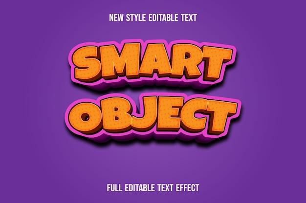Efeito de texto 3d objeto inteligente cor laranja e gradiente rosa