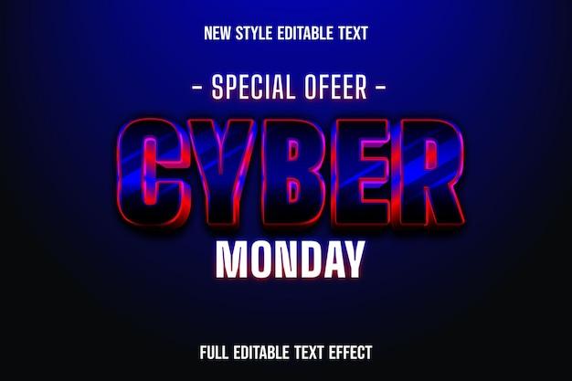 Efeito de texto 3d oferta especial cyber segunda-feira cor preto e vermelho preto