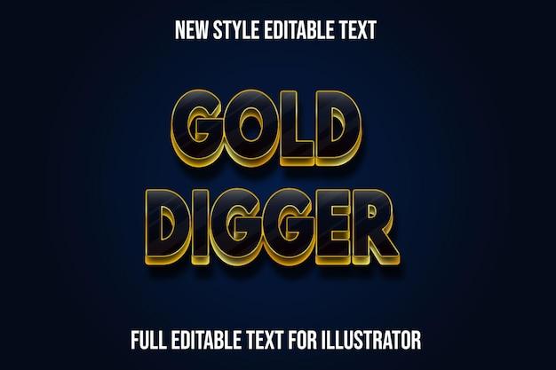 Efeito de texto 3d ouro escavador de cor preta e gradiente de ouro