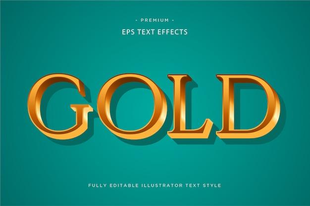Efeito de texto 3d ouro - estilo de texto 3d