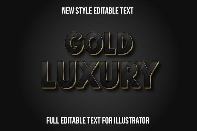 Efeito de texto 3d ouro luxuoso cor preto e gradiente dourado