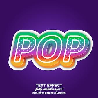 Efeito de texto 3d pop art com cor brilhante