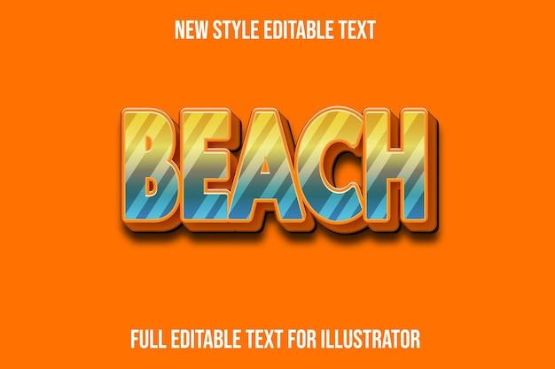 Efeito de texto 3d praia em gradiente amarelo e laranja escuro