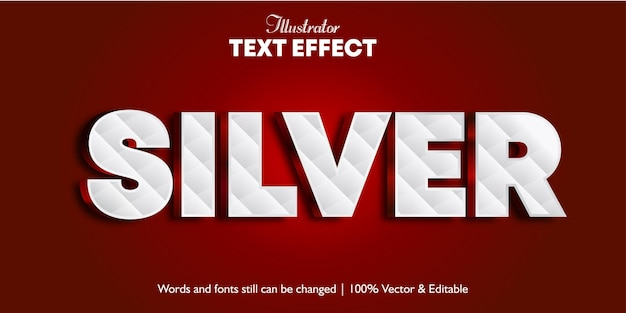 Efeito de texto 3d prateado