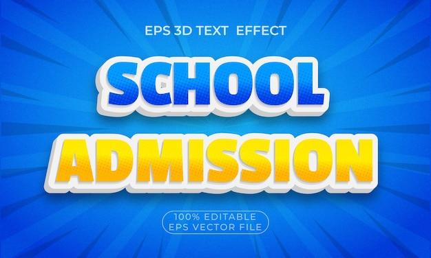 Efeito de texto 3d premium editável na admissão escolar