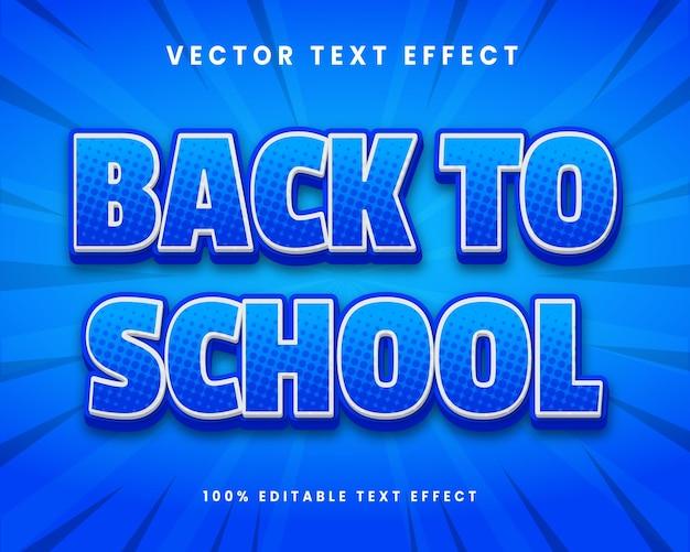 Efeito de texto 3d premium editável na volta às aulas