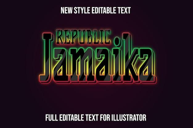 Efeito de texto 3d república jamaica cor gradiente preto e vermelho, verde e amarelo