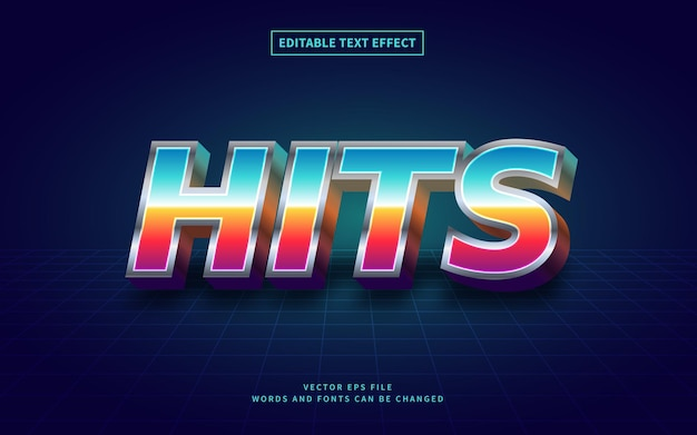 Efeito de texto 3d retro 80s hits