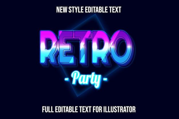 Efeito de texto 3d retro festa cor azul e gradiente rosa