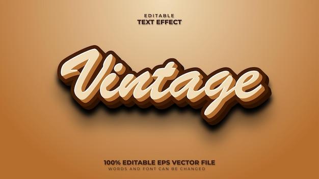 Efeito de texto 3d retro vintage