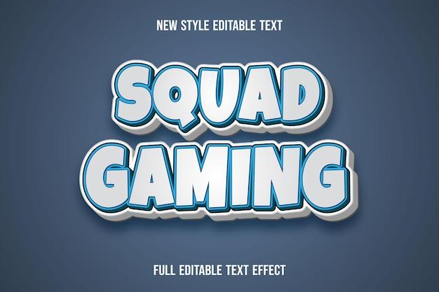 Efeito de texto 3d squad gaming cor branco e azul